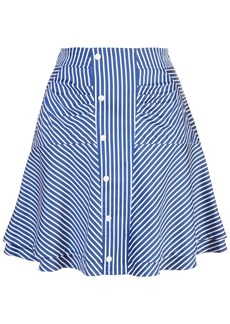 Derek Lam Flared Striped Skirt with Ruching
