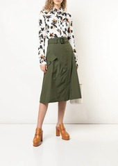 Derek Lam Floating Floral Long Sleeve Ruffle Edge Button-Down Blouse