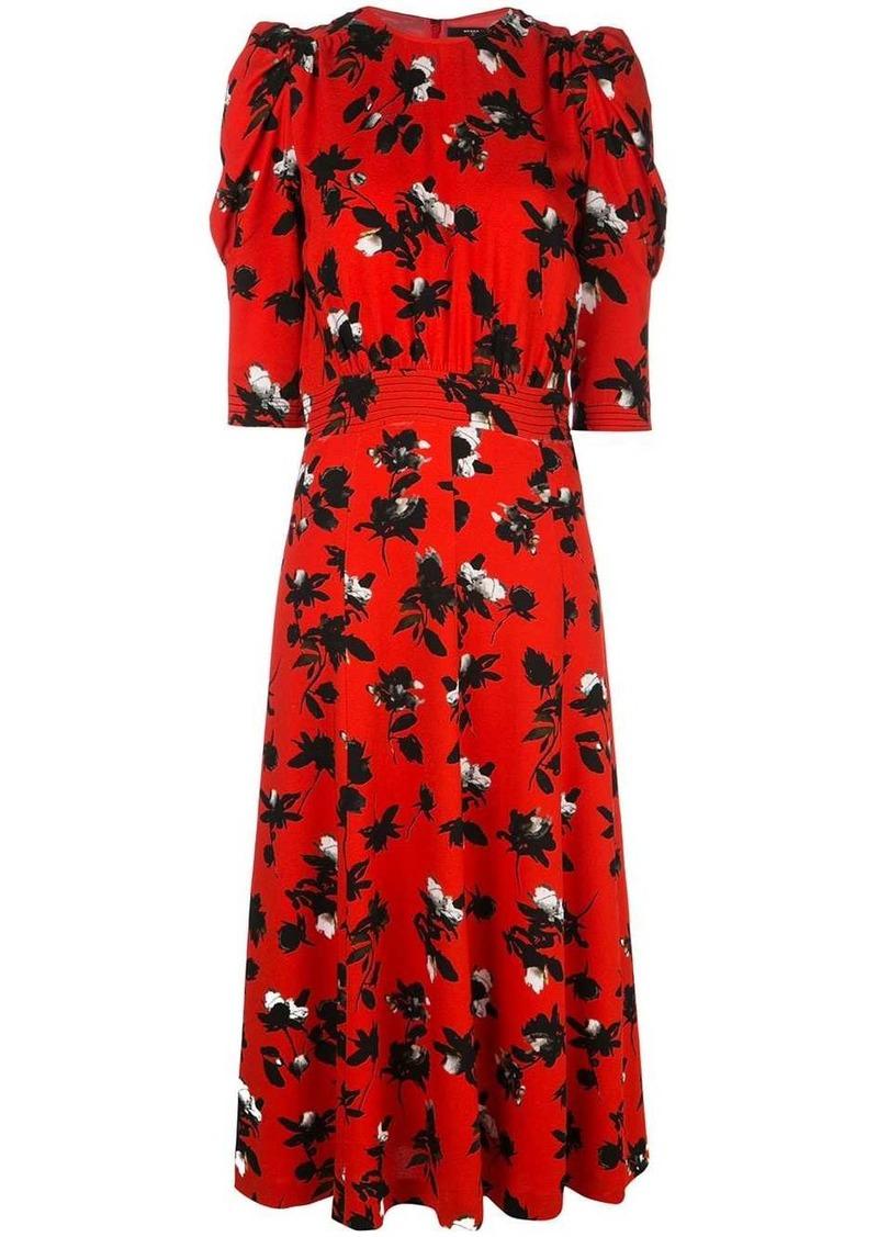 Derek Lam Floating Floral Puff Sleeve Midi Dress