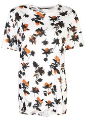 Derek Lam Floating Floral Short Sleeve Printed Tee