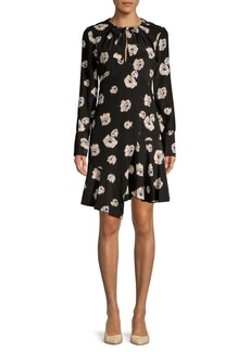 Derek Lam Floral Asymmetric Silk Shift Dress