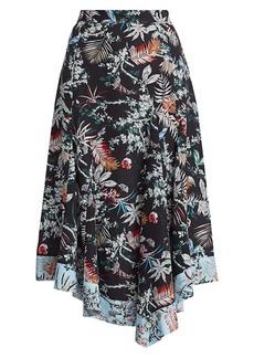 Derek Lam Floral Asymmetrical Midi Skirt