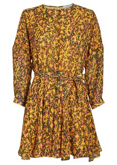 Derek Lam Floral Godet Belted Dress