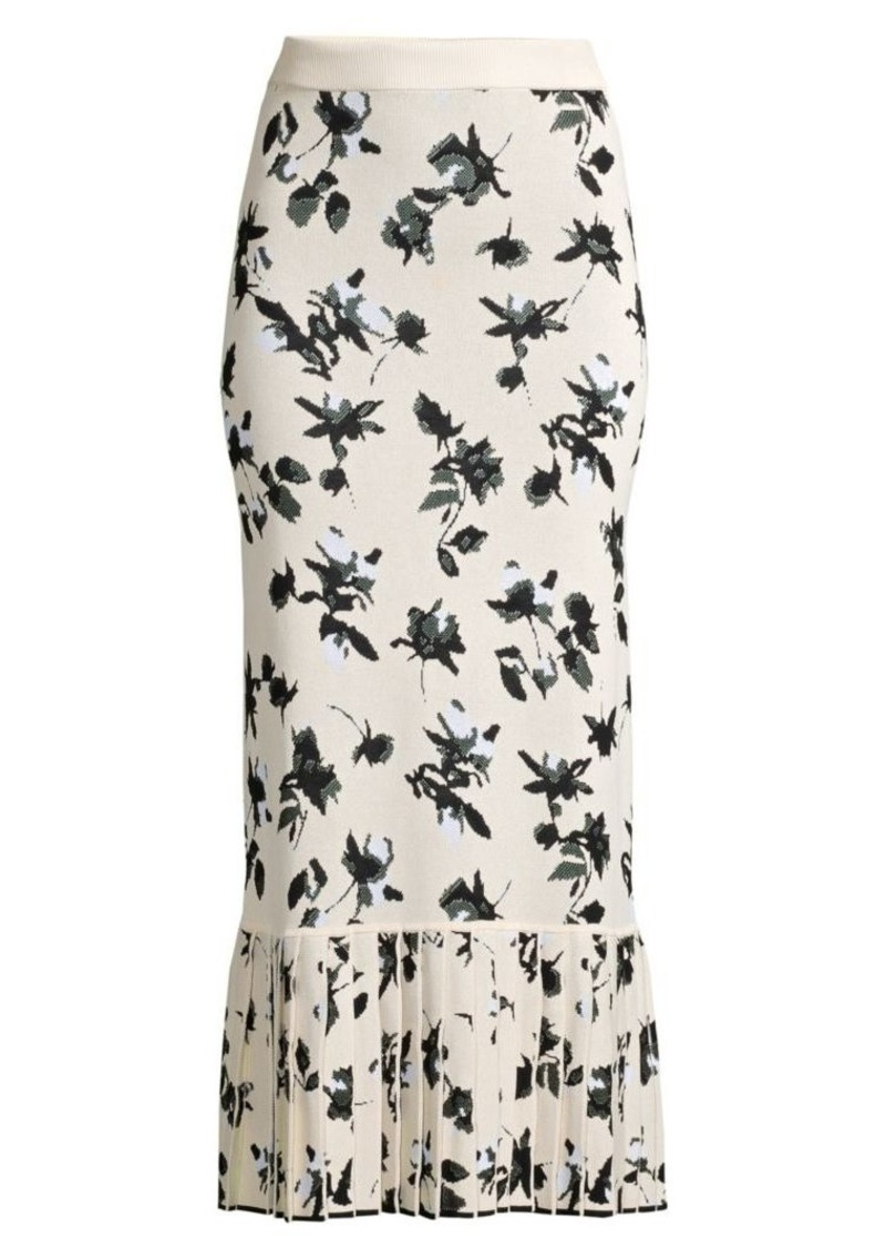 Derek Lam Floral Jacquard Knit Midi Skirt