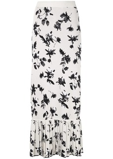 Derek Lam Floral Jacquard Knit Skirt with Pleated Hem