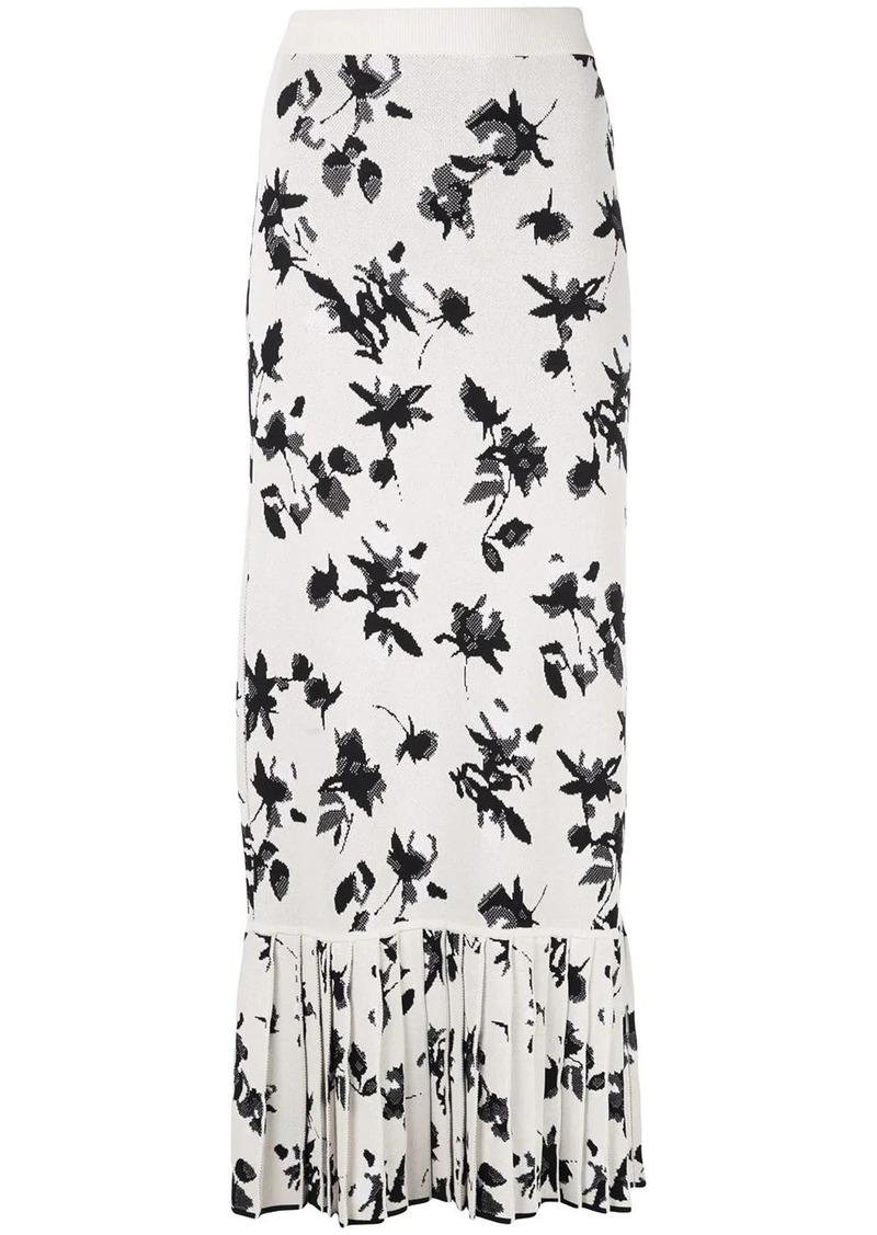 Derek Lam Floral Jacquard Knit Skirt with Pleated Hem