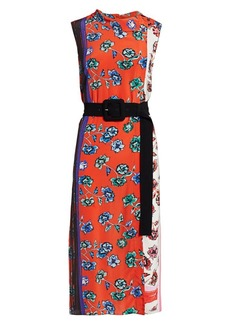 Derek Lam Floral Patchwork Belted Silk Sheath Dress