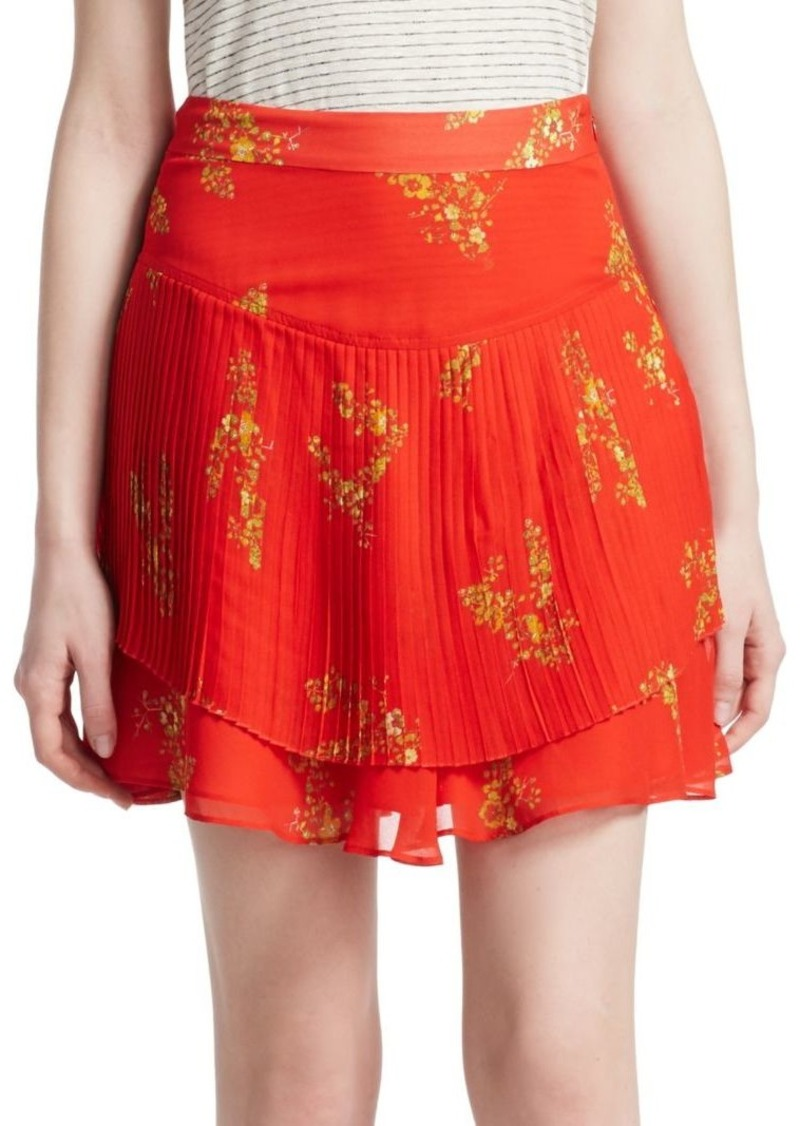 Derek Lam Floral Pleated Mini Skirt