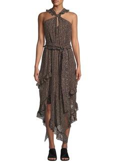 Derek Lam Floral-Print Asymmetrical Ruffle Halter Dress