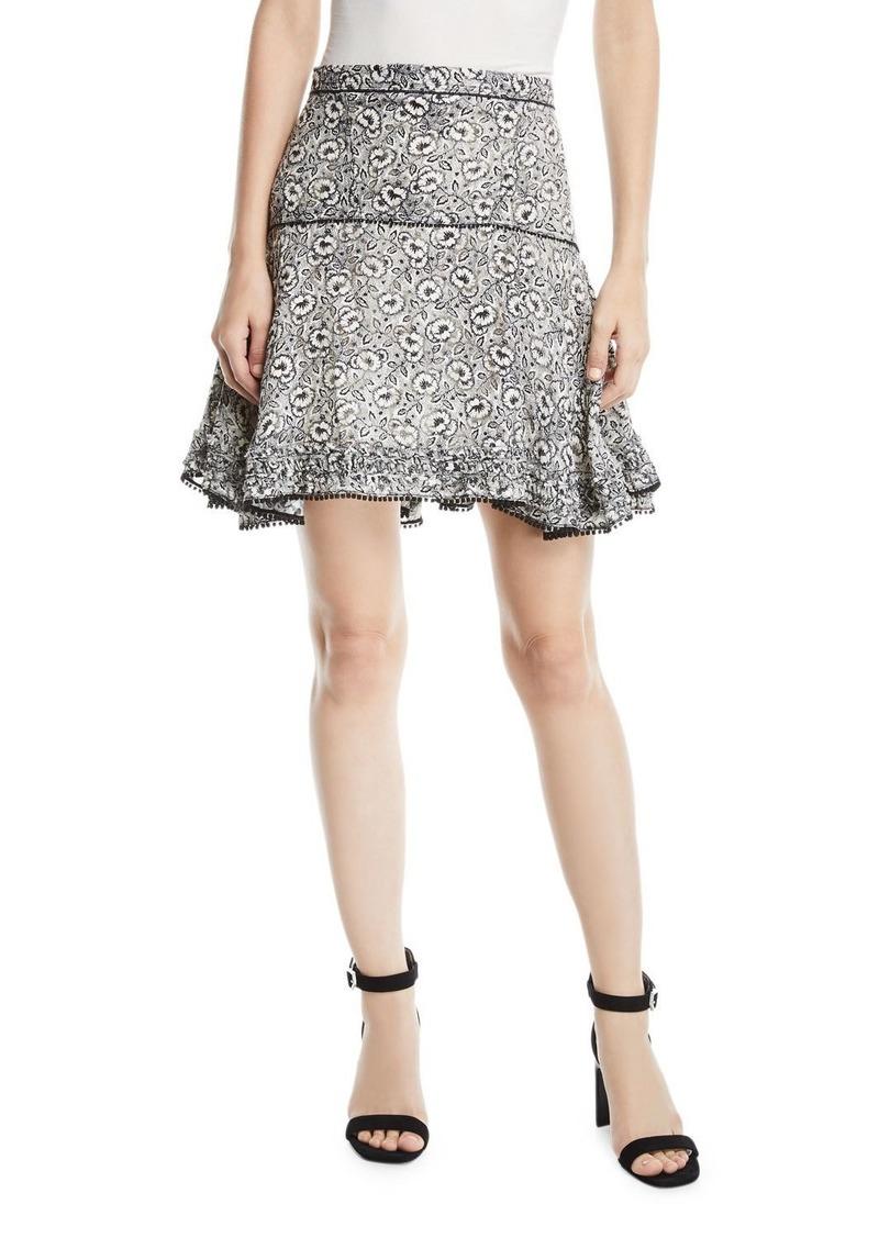 Derek Lam Floral-Print Flounce Mini Skirt with Pompom Trim