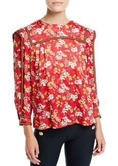 Derek Lam Floral-Print Long-Sleeve Silk Blouse