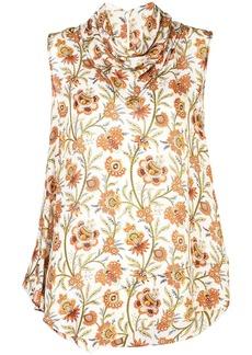 Derek Lam floral print scarf neck handkerchief blouse