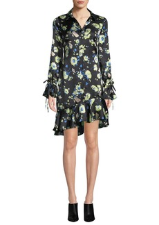 Derek Lam Floral-Print Silk Asymmetric Ruffle Shirtdress