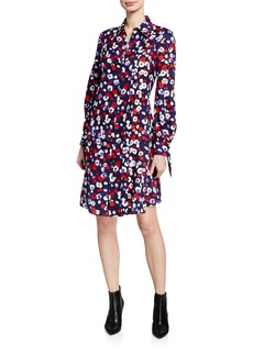 Derek Lam Floral-Print Silk Pleated Shirtdress