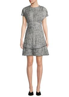 Derek Lam Floral-Print Silk Short-Sleeve Dress