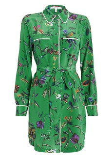 Derek Lam Floral Silk Crepe Shirt Dress