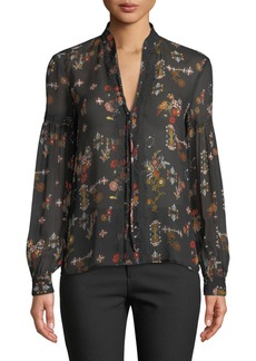 Derek Lam Floral Silk Tie-Neck Long-Sleeve Blouse