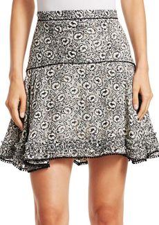 Derek Lam Floral Stretch Silk Flare Skirt