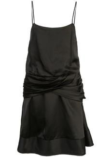 Derek Lam Flounce Mini Satin Dress with Twist Waist Detail