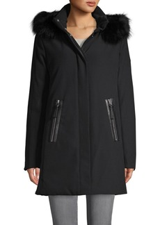 Derek Lam Fox Fur & Leather-Trim Down Coat