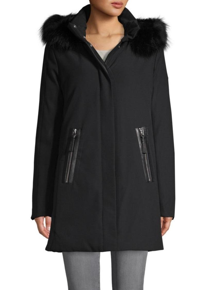 Derek Lam Fox Fur & Leather-Trim Down Coat