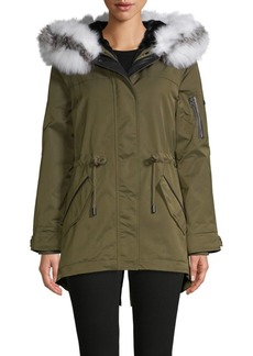 Derek Lam Fox Fur-Trim & Removable Faux Fur Vest-Liner Parka