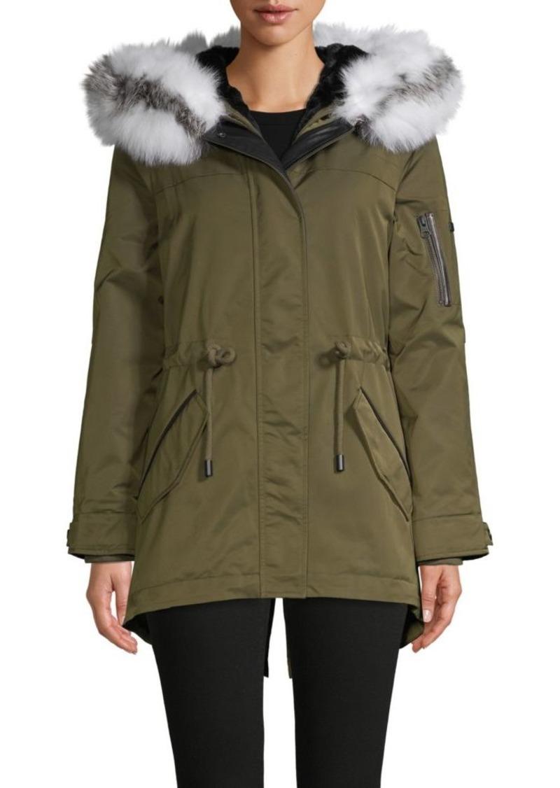 Derek Lam Fox Fur-Trim & Removable Faux Fur Vest-Liner Parka