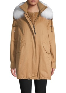 Derek Lam Fox Fur-Trim Parka & Faux Fur Vest