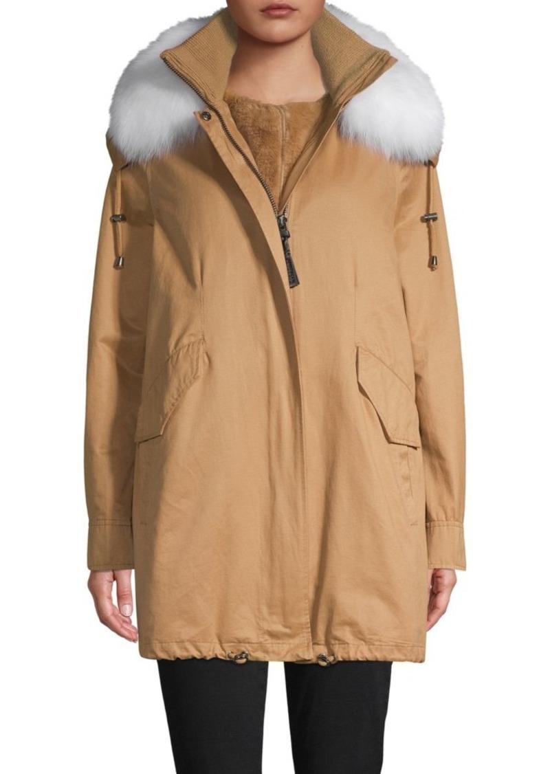 Derek Lam Fox Fur-Trim Parka & Faux Fur Vest