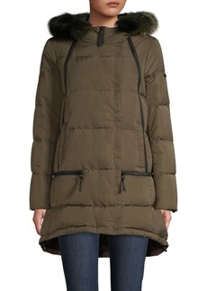 Derek Lam Fox Fur-Trim Quilted Down Coat