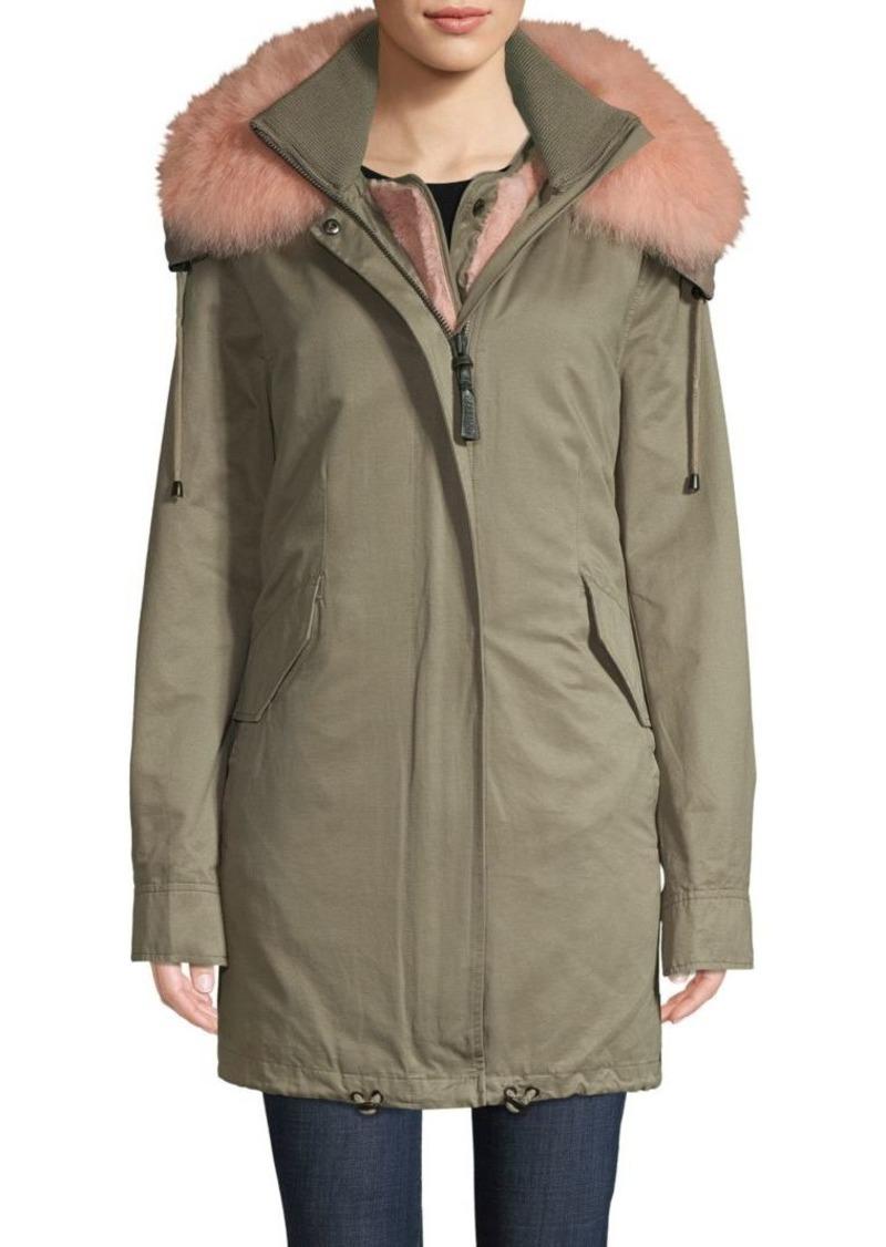 Derek Lam Fox Fur-Trimmed Parka & Faux Fur Vest
