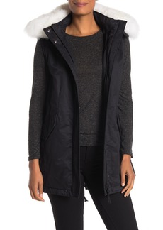 Derek Lam Genuine Fox Fur Trim Hooded Vest Parka