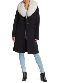 Derek Lam Genuine Fox Fur Trim Wool Blend Coat