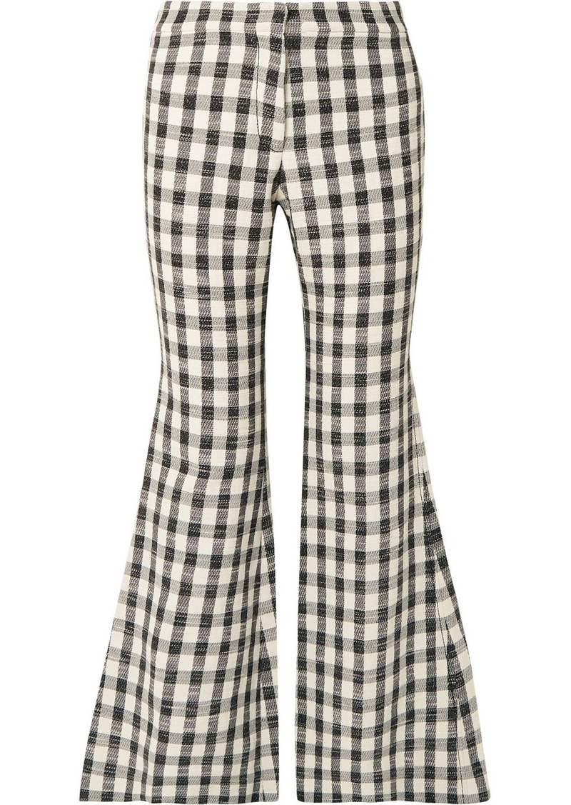 Derek Lam Gingham Cotton-blend Flared Pants