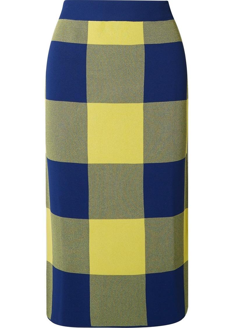 Derek Lam Gingham Stretch Jacquard-knit Midi Skirt