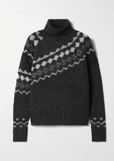 Derek Lam Grammer Fair Isle Metallic Knitted Turtleneck Sweater