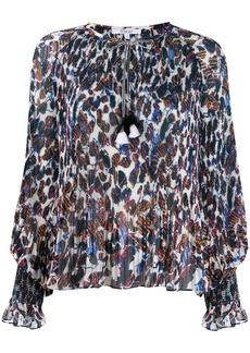 Derek Lam Helena pleated speckled floral blouse