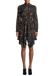 Derek Lam High-Neck Printed Silk Long-Sleeve Handkerchief Dress