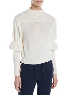 Derek Lam High-Neck Puff-Sleeve Wool Sweater