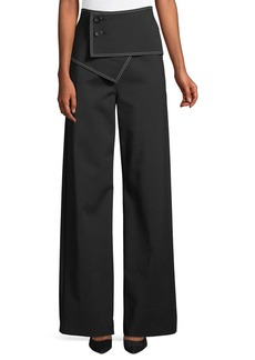 Derek Lam High-Waist Flared-Leg Trousers w/ Fold-Over Waist