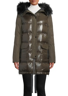 Derek Lam Hooded Puffer Combo Parka Coat w/ Fur Trim