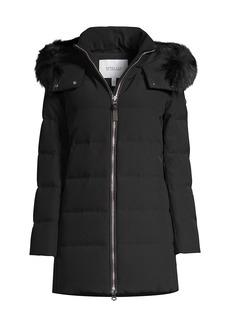 Derek Lam Horizontal Quilted Fur-Trim Hooded Jacket
