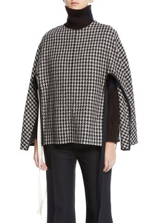 Derek Lam Houndstooth-Wool Side-Tie Poncho Sweater