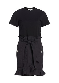 Derek Lam Hudson Mixed-Media Cotton T-Shirt Dress