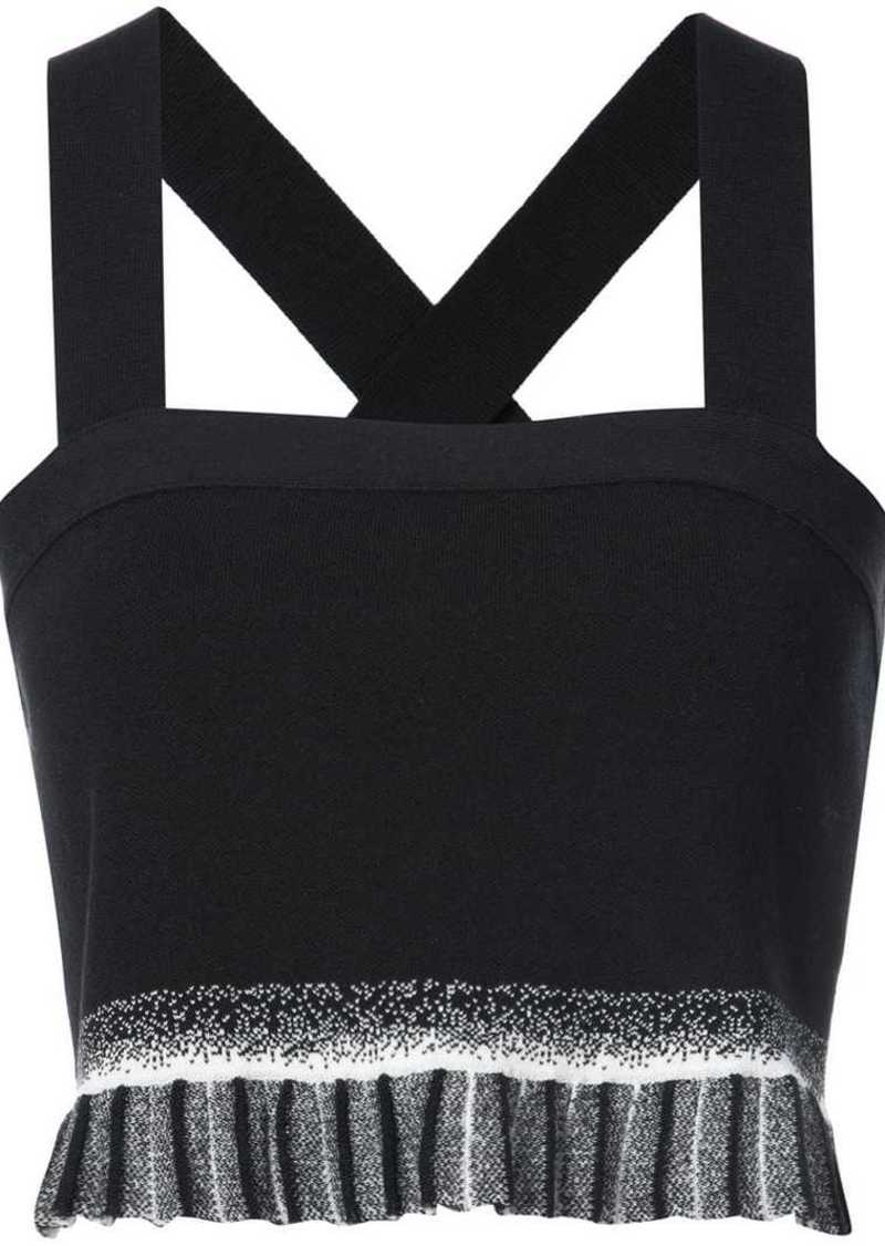 Derek Lam Knit Crop Top With Pleated Ruffle Hem
