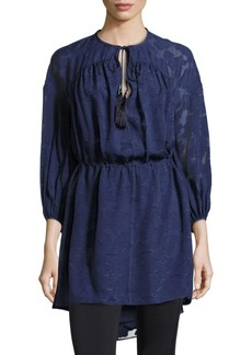 Derek Lam Lace Sleeved Front Tie Dress