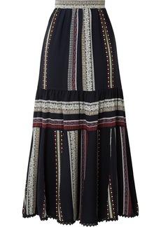 Derek Lam Lace-trimmed Tiered Printed Silk Midi Skirt