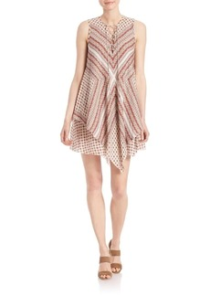 Derek Lam Lace-Up Layered Silk Dress
