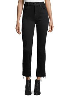 Derek Lam Leah High-Waist Straight-Leg Jeans w/ Raw Hem