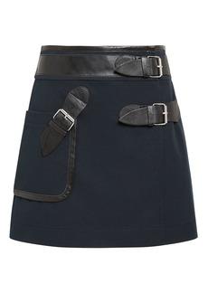 Derek Lam Leather Trim Navy Mini Skirt